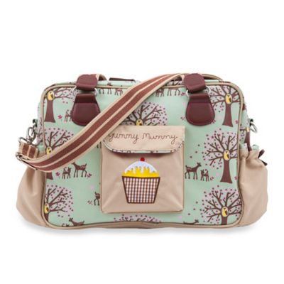 Pink Lining Yummy Mummy Woodland Diaper Bag in Green