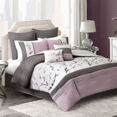 Blossom 8-Piece California King Comforter Set in Plum