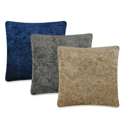 Austin Horn Collection Elite Velvet Reversible Square Throw Pillow in Midnight Blue