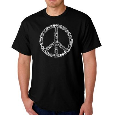Men's Small Word Art Peace 77 T-Shirt in Black