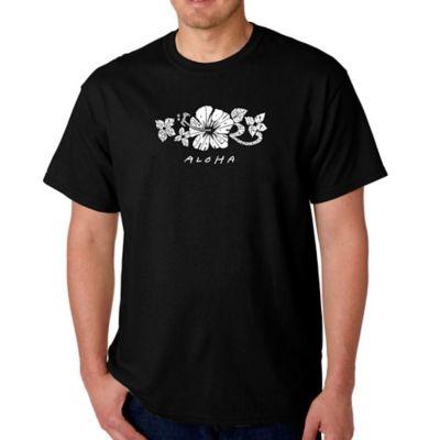 Men's Small Word Art Aloha T-Shirt in Black