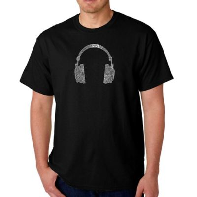 Men's Small Word Art Headphones T-Shirt in Black