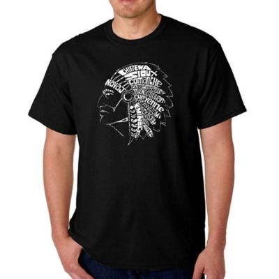 Men's Small Word Art Native American Tribes T-Shirt in Black