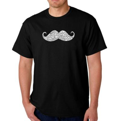 Men's Small Word Art Ways to Style a Mustache T-Shirt in Black