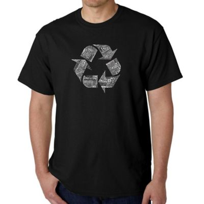 Men's Small Word Art Recycle T-Shirt in Black