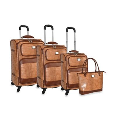 Adrienne Vittadini Croco 4-Piece Spinner Luggage Set in Natural