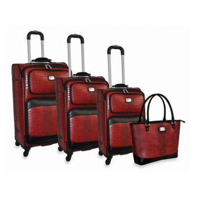 Adrienne Vittadini Croco 4-Piece Spinner Luggage Set in Red