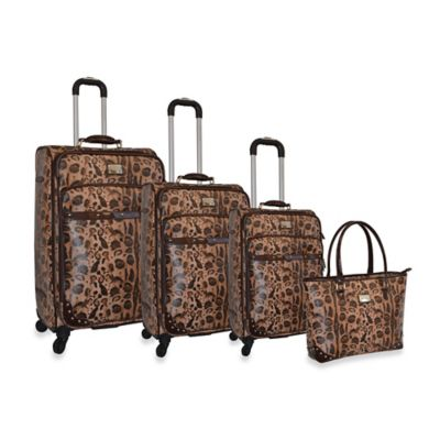 Adrienne Vittadini Leopard Pebble Grain Collection 4-Piece Spinner Luggage Set in Brown