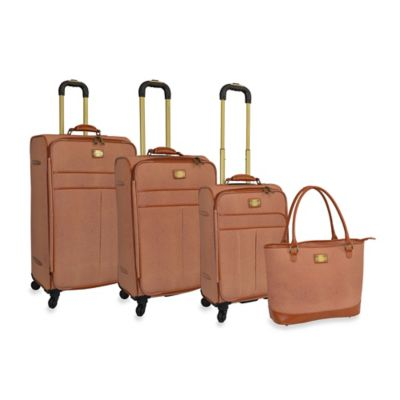 Adrienne Vittadini Stingray Collection 4-Piece Spinner Luggage Set in Natural