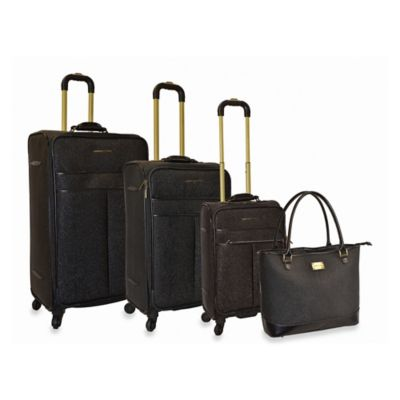 Adrienne Vittadini Stingray Collection 4-Piece Spinner Luggage Set in Black