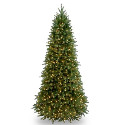 National Tree 9-Foot Jersey Fraser Fir Slim Christmas Tree Pre-Lit with Clear Lights
