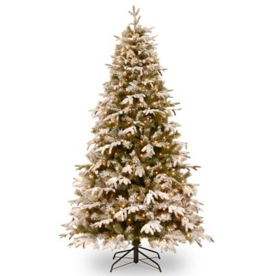 "National Tree ""Feel Real"" Snowy Everest Medium Hinged 7-1/2-Foot Pre-Lit Christmas Tree"