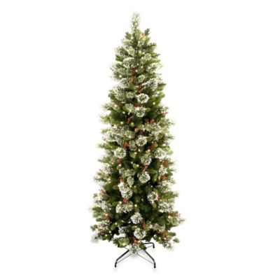 National Tree 7.5-Foot Wintry Pine Slim Hinged Christmas Tree with 400 Clear Lights