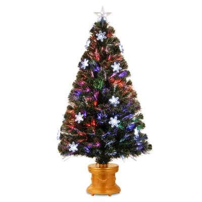 National Tree 48-Inch Fiber Optic Fireworks Snowflakes Christmas Tree