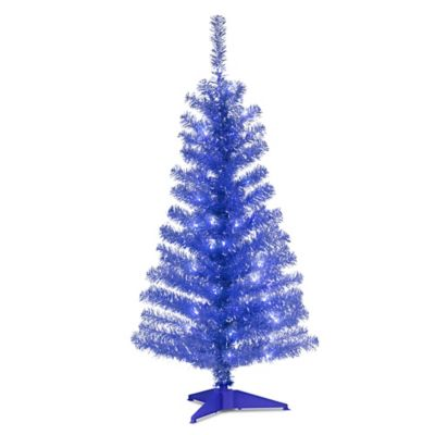 National Tree 4-Foot Tinsel Christmas Tree in Blue