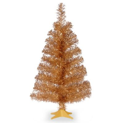 National Tree Champagne Tinsel Wrapped 2-Foot Christmas Tree