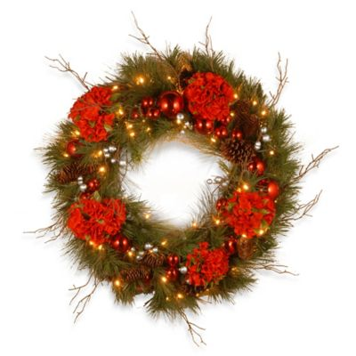 National Tree 24-Inch Decorative Hydrangea Christmas Wreath