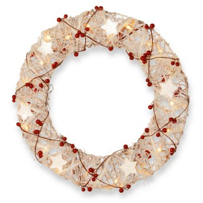 National Tree 18-Inch Rattan Christmas Wreath in White
