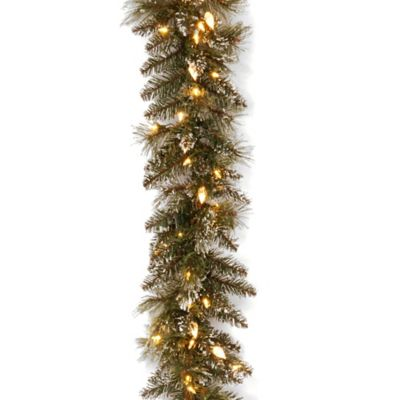 National Tree 9-Foot Glittery Pine Christmas Garland Pre-Lit with 100 Warm White LED Lights