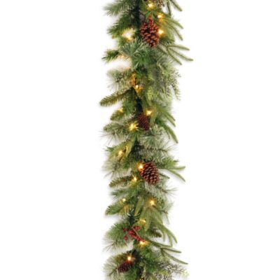 National Tree 9-Foot Colonial Christmas Garland Pre-Lit with Clear Lights