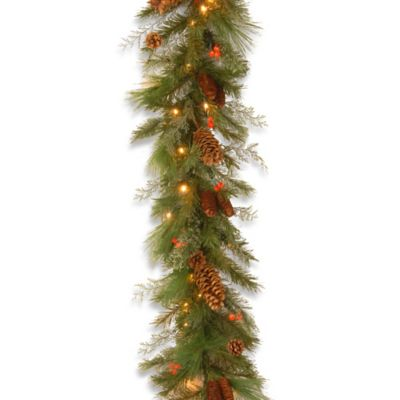 National Tree 6-Foot White Pine Pre-Lit Battery Operated Christmas Garland