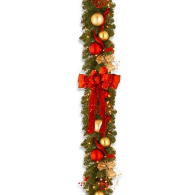 National Tree Decorative Collection 9-Foot Cozy Christmas Garland Pre-Lit with 100 Lights