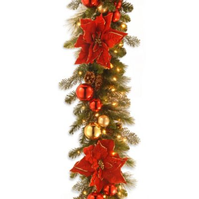 National Tree 9-Foot Home for the Holidays Christmas Garland Pre-Strung with 100 lights