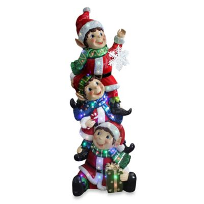 National Tree 59-Inch Pre-Lit Stacked Elves Decoration