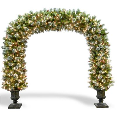 National Tree 8-1/2-Foot Wintry Pine Archway with Clear Lights