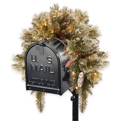National Tree 3-Foot Glittery Bristle Pine Mailbox Swag