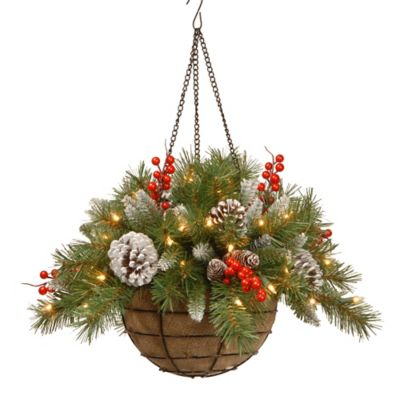 National Tree 20-Inch Frosted Berry Hanging Basket Pre-Lit with 50 Lights