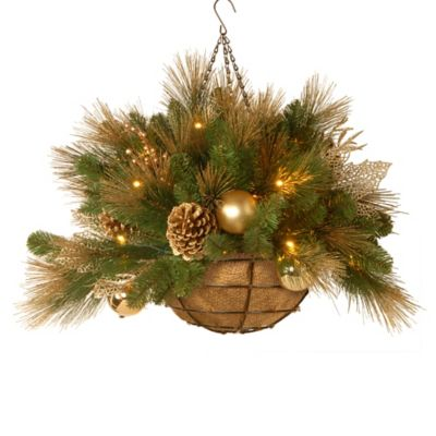 National Tree Decorative Collection 30-Inch Elegance Hanging Basket Pre-Lit with 50 Lights