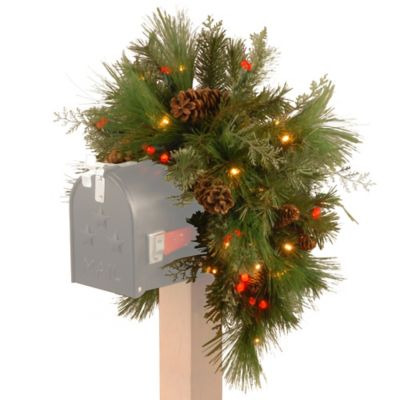 National Tree Decorative Collection 3-Foot White Pine Mailbox Swag