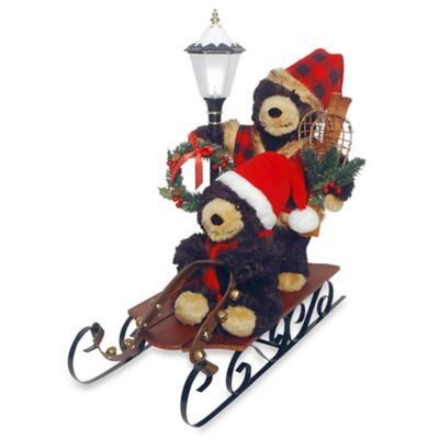 National Tree Plush Sleigh Riding Bears Figurine