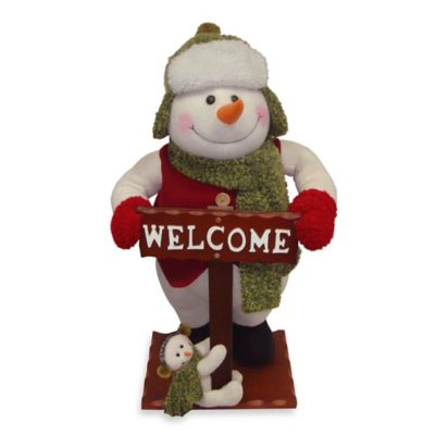 National Tree Plush Collection Snowman with Welcome Sign Display