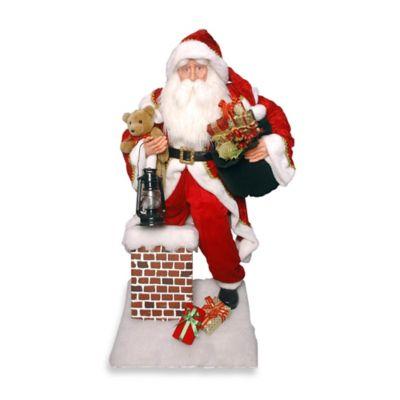 National Tree Plush Collection Santa Climbing Chimney Display