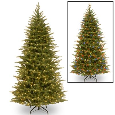 "National Tree ""Feel Real"" Nordic Spruce Slim Hinged 7-1/2-Foot Pre-Lit Christmas Tree"
