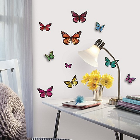 Buy roommates 3d butterflies peel stick wall decals from for Butterfly design on wall