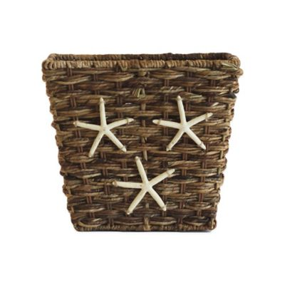 Barbac Rectangular Wastebasket with Starfish Trim in Natural