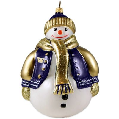 Joy to the World Collectibles University of Washington Chubby Snowman Christmas Ornament
