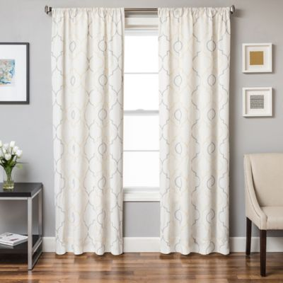 Linen Navy White Curtain