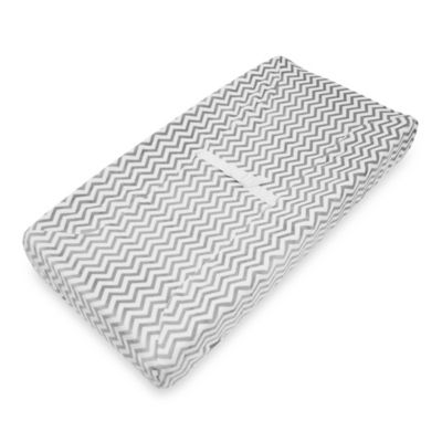 TL Care® Mix & Match Heavenly Soft Chenille Contoured Changing Pad Cover in Grey Zig Zag