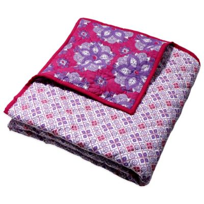 Masala Baby Moksha India Rose Cross Stitch Reversible Quilt in Pink