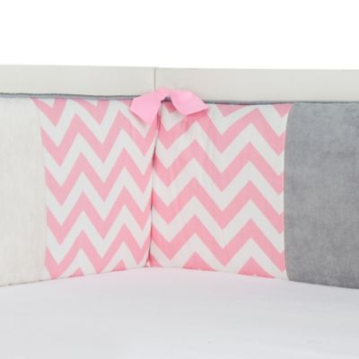 Glenna Jean Swizzle Crib Bumper in Pink
