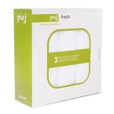 Puj® Fresh 3-Pack Soft Cotton Washcloths