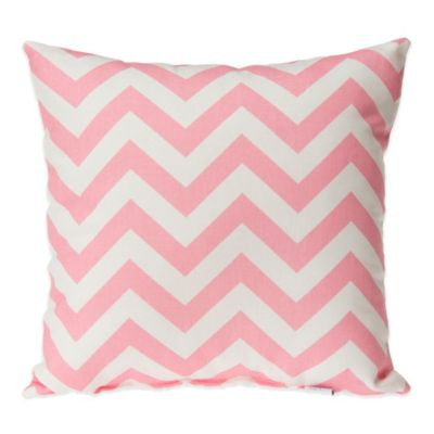 Glenna Jean Swizzle Square Throw Pillow in Pink Chevron