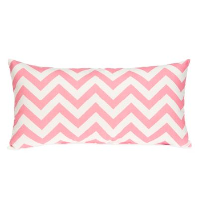 Glenna Jean Swizzle Oblong Throw Pillow in Pink Chevron