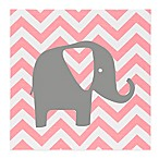 Glenna Jean Swizzle Chevron Elephant Wall Art in Pink/Grey
