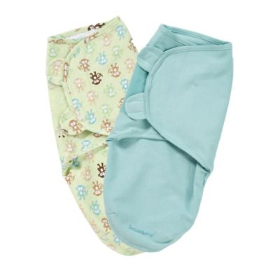 Summer Infant® Size Small/Medium Cotton SwaddleMe® 2-Pack in Monkey Fun