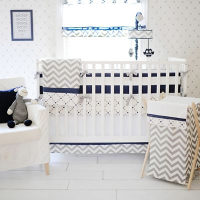 Blue White Crib Bumper